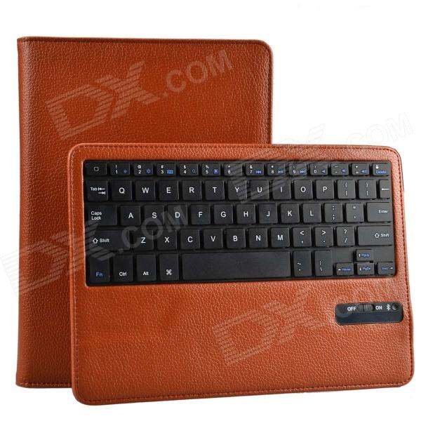 Detachable Wireless Bluetooth V3.0 64-Key Keyboard w/ PU Leather Case for Ipad AIR - Brown