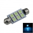 Festoon 36mm 0.5W 60lm 6 x SMD 5050 LED Ice Blue Light Car Reading / Indicator / Roof Lamp - (12V)