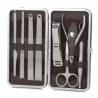 8-in-1 High Grade Stainless Steel Nail Care Manicure Set - Silver + Coffee
