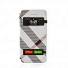Irregular Pattern PU Leather Case Cover w/ Visual Window / Slide to Unlock for Iphone 5 / 5s - White