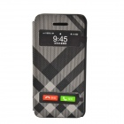 Irregular Pattern PU Leather Case Cover w/ Visual Window / Slide to Unlock for Iphone 5 / 5s - Black