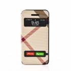 Irregular Pattern PU Leather Case Cover w/ Visual Window / Slide to Unlock for Iphone 5 / 5s - Beige