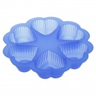 6-Cube Heart-Shaped Cake Maker DIY Mould Tray - Blue
