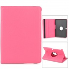 Lychee Grain Protective 360 Degree Rotation PU Leather Case for Samsung P600 / P601 - Deep Pink