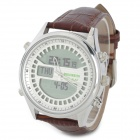 SR810 Muslim Pilgrims Stainless Steel Dial PU Leather Band Digital + Quartz Watch - Silver