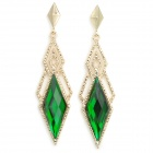 ER-7193 Graceful Rhombus Shape Crystal Earring - Deep Green