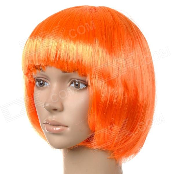 Fashionable Short Straight Hair Wig w/ Bangs for Show / Party / Christmas - Orange