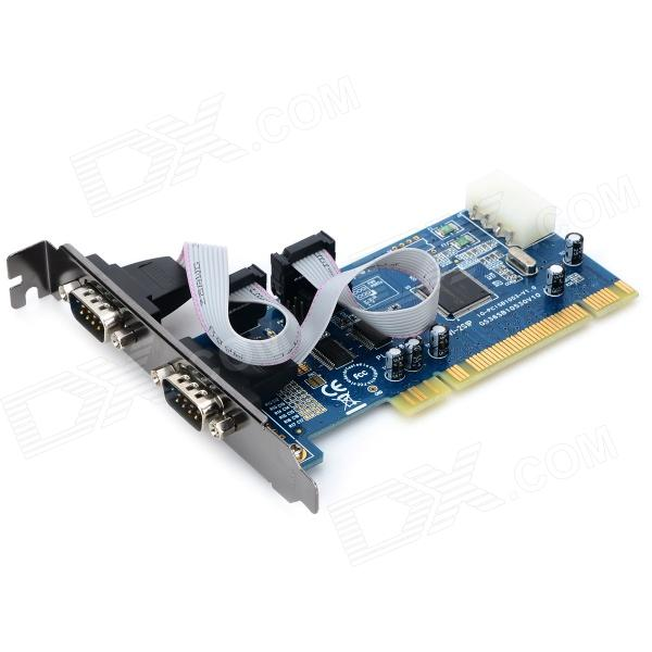 цена на IOCREST IO-PIO1053-2S PCI to 2-port DB9 Serial Expansion Card w/ 16C1053 Chip - Deep Blue