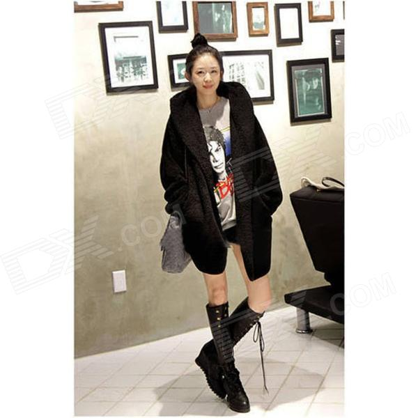 Fashion Hoodies Fleece Coat Jacket for Women - Black