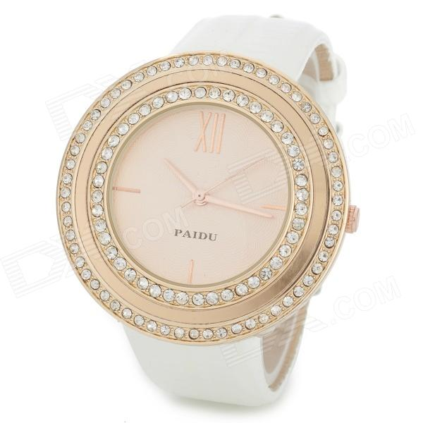 PAIDU 58938 Fashion Round Crystal Dial Leather Band Quartz Wrist Watch - White + Rose Golden