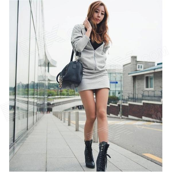Women's Back Wings Pattern Sexy Cotton Hoody Dress - Light Grey ellesse toppo overhead hoody athletic grey marl