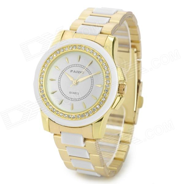 PAIDU 58928 Women's Crystal Decorated Analog Quartz Wrist Watch - Golden + White (1 x 626) paidu fashion men wrist watch casual round dial analog quartz watch roman number faux leatherl band trendy business clock