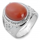 Men's Silvered Steel Agate Ring - Silver + Orange (US Size 9)