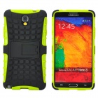Protective TPU + PC Back Case w/ Stand for Samsung Galaxy Note 3 - Black + Yellow
