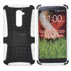 Protective 2-in-1 TPU + PC Back Case w/ Holder for LG Optimus G2 - Black + White