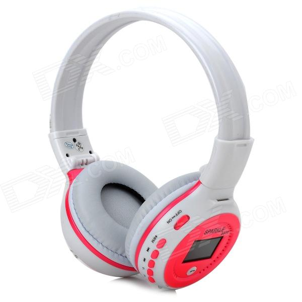 ZEALOT B-570 1.5 LCD Stereo Bluetooth v2.1 + EDR Headphones w/ TF / FM / Microphone - White + Pink gucee g868 bluetooth v2 1 edr stereo headphones w microphone green white