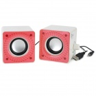 Jeway JS5206 High Quality Mini USB 2.0 Speaker for Tablet PC - Light Pink + White (Pair)