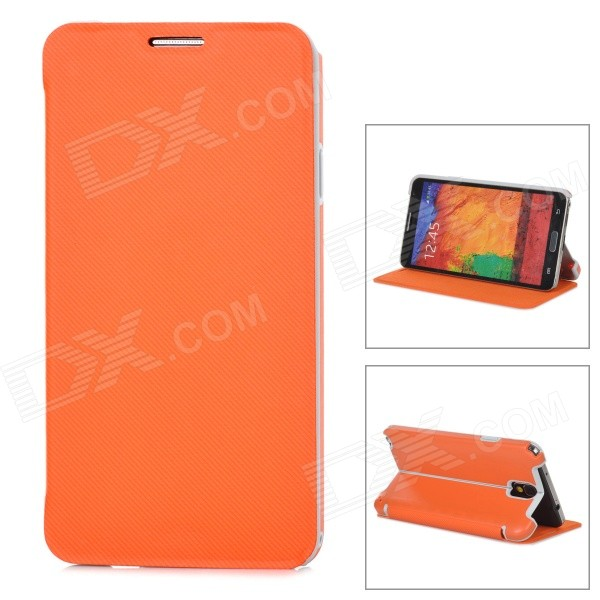Stylish Flip-open PU + ABS Case w/ Holder for Samsung NOTE3 / N9000 - Orange - DXLeather Cases<br>Color Orange Brand N/A Model N/A Material PU leather + ABS Quantity 1 Piece Compatible Models Samsung NOTE3 / N9000 Packing List 1 x Case<br>
