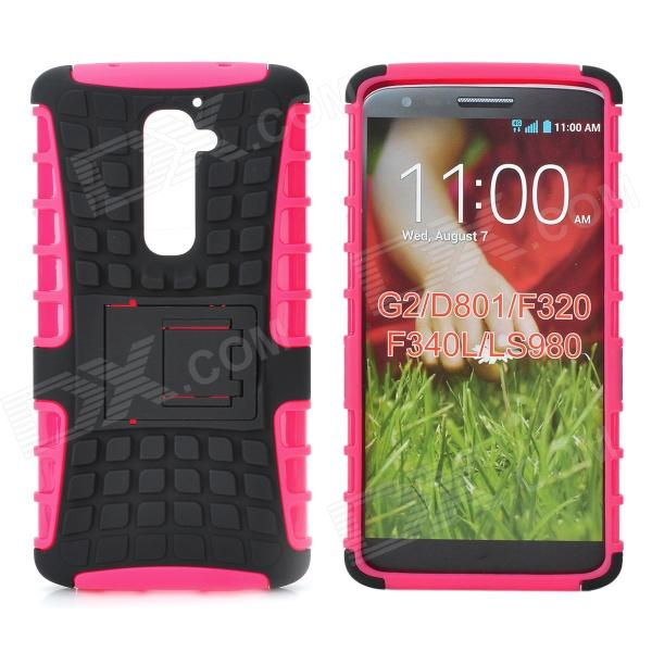 Protective TPU + PC Back Case w/ Stand for LG Optimus G2 - Black + Red
