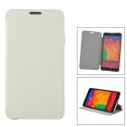 Protective PU Leather + ABS Case w/ Holder for Samsung Galaxy Note 3 N9000 - White