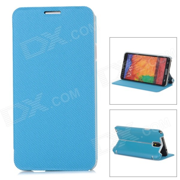Stylish Flip-open PU + ABS Case w/ Holder for Samsung NOTE3 / N9000 - Light Blue metal ring holder combo phone bag luxury shockproof case for samsung galaxy note 8