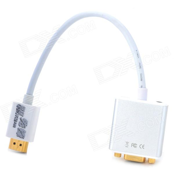1080P mini HDMI / HDMI a VGA + 3.5mm Audio Video Converter w / USB 5V Fuente de Alimentación - Blanco