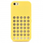 Hollow-Out Round Hole Style Protective PC Case for iPhone 5 / 5S / 5c - Yellow + Transparent