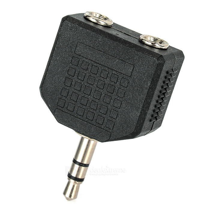 One 3.5mm to Two 3.5mm Jack Splitter Convertor - Black