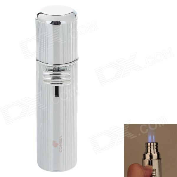 COHIBA 5356B Fashion Zinc Alloy Three Holes Strong Fire Gas lighter - Silver