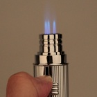 5356B Fashion Zinc Alloy Three Holes Strong Fire Gas lighter - Silver