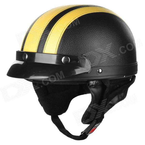 XT02 Motorcycle PU Leather Helmet - Black + Yellow (M)