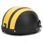 Motorcycle PU Leather Helmet - Black + Yellow (M)