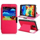 Faux Leather Stand Protective Case with Magnetic Closure for Samsung Galaxy Note 3 - Deep Pink
