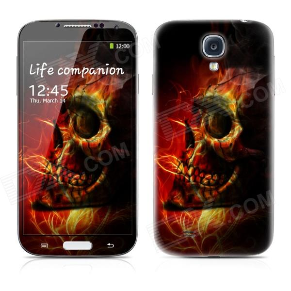 PAG Front Screen + Back Skin Protector Stickers for Samsung Galaxy S4 i9500 - Dark Red + Black dynamic 3d skull pattern protective back case for samsung galaxy s4 i9500 black