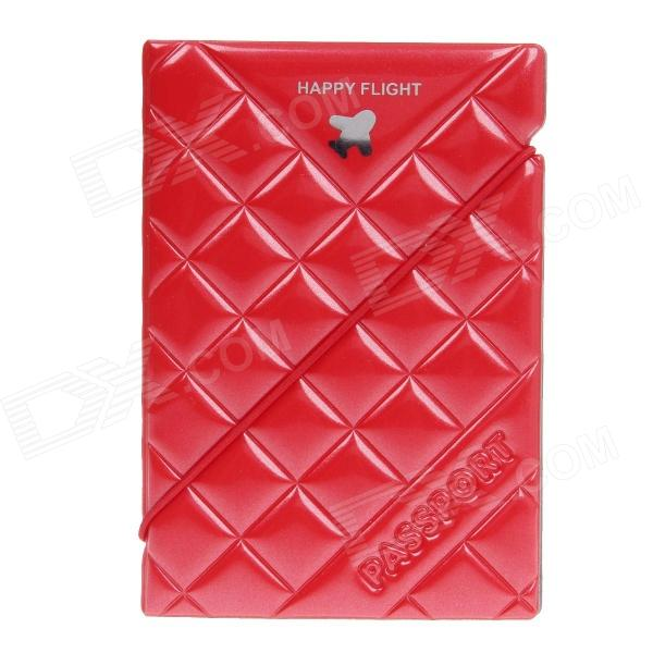 SL-PH001 Plane Pattern PVC Passport Holder - Red