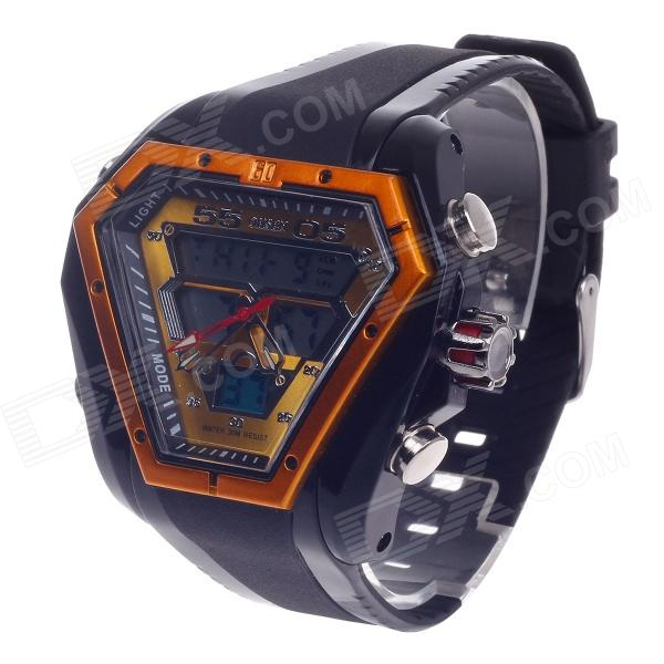 OHSEN AD1208 Fashion Multifunction Analog + Digital Display Waterproof Wrist Watch - Black + Golden