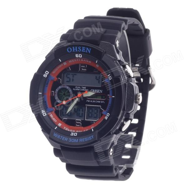 OHSEN AD1136 Men's Sport Analog + Digital Quartz Wrist Watch - Black (1 x CR-2025) splendid brand new boys girls students time clock electronic digital lcd wrist sport watch