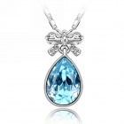 "EQute PSWW142C5 Fashionable Ocean Heart Austrian Crystal Pendant Necklace - Blue (16"")"