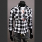 C56 Fashionable Large Lattice Leisure Men's Long Sleeve Shirt - White + Black (Size-XL)