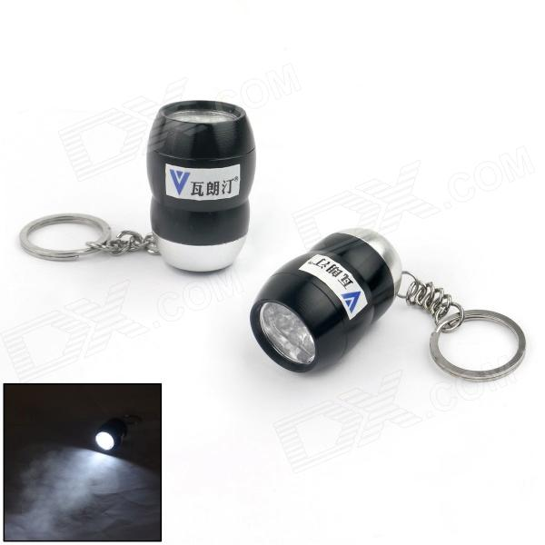 WaLangTing Water Resistant Mini 6-LED White Flashlight Keychain - Black + Silver (3 x AG10 / 2 PCS) mini 30lm white 8 led water resistant flashlight w red laser light blue 3 x aaa