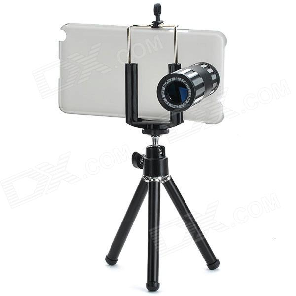 12X Telephoto Lens w/ Tripod / Back Case for Samsung Galaxy Note 3 - Black + Silver