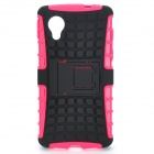 2-in-1 Detachable TPU + PU Back Case w/ Stand for LG Nexus 5 - Black + Deep Pink
