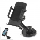 360 Degree Rotation Holder Mount w/ H17 Suction Cup + C65 Back Clamp for Mobile - Black