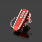 SAENKDEA 518 Stylish Rhinestone-studded Bluetooth V3. 0 + EDR Music Headset - Red + Silver