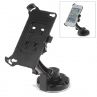 360 Degree Rotation Holder Mount w/ H17 Suction Cup + Back Clamp for Iphone 4 / 4s - Black