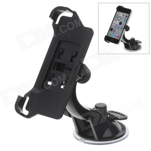 360 Degree Rotation Holder Mount w/ H07 Suction Cup for Iphone 5C - Black h08 360 rotation 4 port suction cup holder w silicone back clip for iphone 4 4s 5 ipad mini ipod