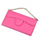 Stylish Plaid Handbag Designed Plastic + PU leather Case w/ Card Slot for Iphone 5 / 5s - Deep Pink