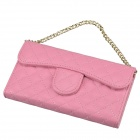 Stylish Plaid Handbag Designed Plastic + PU leather Case w/ Card Slot for Iphone 5 / 5s - Pink