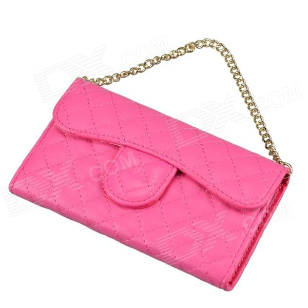 Stylish Plaid Handbag Designed Plastic + PU leather Case w/ Card Slot for Iphone 4 / 4s - Deep Pink silk style protective pu leather plastic case for iphone 4 4s deep pink
