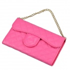 Stylish Plaid Handbag Designed Plastic + PU leather Case w/ Card Slot for Iphone 4 / 4s - Deep Pink
